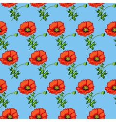 Seamless background of poppies vector