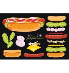 Hot dog on black background vector