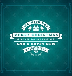Merry christmas greetings postcard with vintage vector