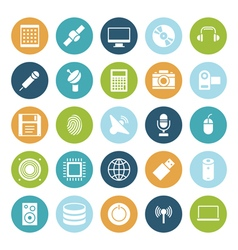 icons plain circle technology vector image