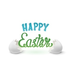 Happy easter background with two egg shells vector