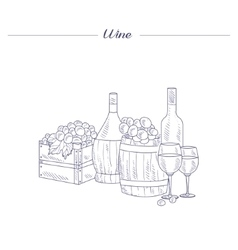 Wine bottle glass and crate of grapes hand drawn vector
