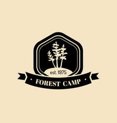 Authentic camp logo tourist sign with hand vector