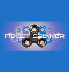 Black fidget finger spinner horizontal web banner vector
