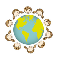 Boys and girls arround the earth planet vector