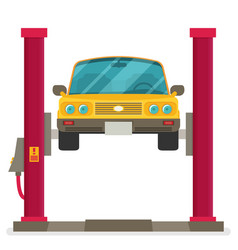 Car repair car lifted on auto lift vector