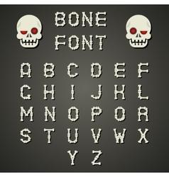Cartoon Bone Alphabet A to Z Flat Design Font vector image
