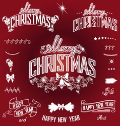 Christmas and New Year titles and design elements vector image