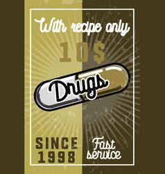 Color vintage drugs banner vector