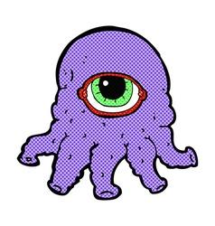 Comic cartoon alien head vector