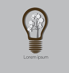 Concept tree in light bulb symbol of renewable vector
