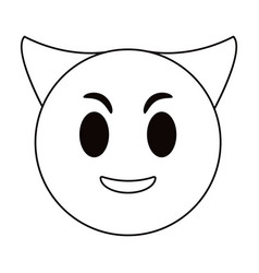 Devil emoticon funny thin line vector
