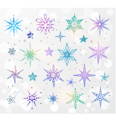 Doodle blue and violet snowflakes on white glowing vector