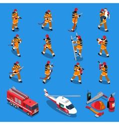 Fireman isometric set vector
