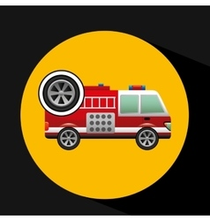 firetruck icon wheel design vector image