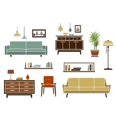 Flat furniture and interior accessories vector