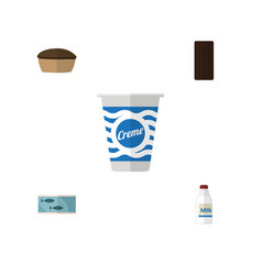 Flat icon meal set of tart bottle tin tuna and vector
