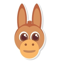 Funny donkey face isolated icon vector