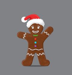 Gingerbread man in xmas hat vector