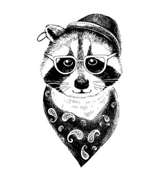 Hand drawn dressed up raccoon hipster vector