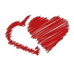 handwriting hearts vector image vector image