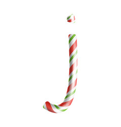 letter j 3d realistic candy cane alphabet vector image vector image