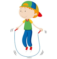 Little boy skipping the rope vector image