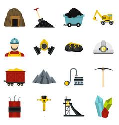 Miner set flat icons vector
