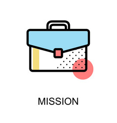 mission icon with briefcase on white background vector image vector image