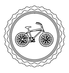 Monochrome silhouette of bicycle in round frame vector