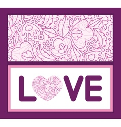 Pink flowers lineart love text frame pattern vector
