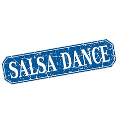 Salsa dance blue square vintage grunge isolated vector