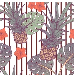 Seamless pattern with pineapple and tropical vector