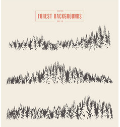 Set pine forest backgrounds drawn sketch vector