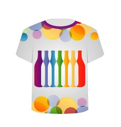 T Shirt Template- Colorful bottles vector image vector image