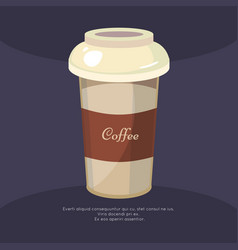 take away coffee mug poster - cafe poster design vector image