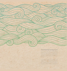 Waves ornate background with copy space on old vector