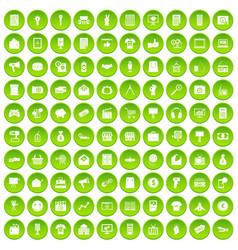 100 marketing icons set green circle vector
