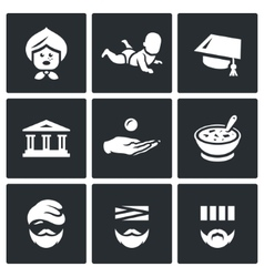 Set of social payment icons pension child vector