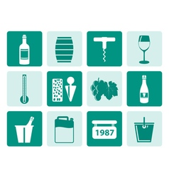 One tone wine and drink icons vector