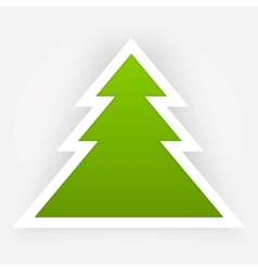 Green paper christmas tree applique vector
