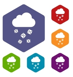 Cloud and hail icons set vector
