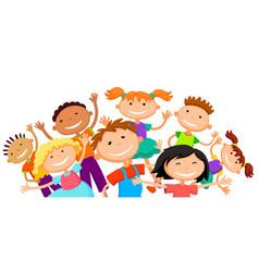 Group of children kids are jumping joyful white vector