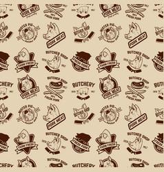 Farm fresh pork meat labels pattern design vector
