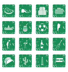 Argentina travel items icons set grunge vector
