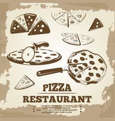 Vintage pizza elements for cafe restaurant bar vector