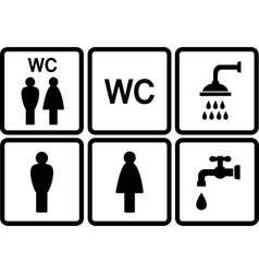 Set of wc icons with shower and tap vector