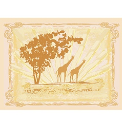 grunge background with giraffe silhouette African vector image