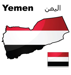 Flag and map of yemen vector