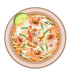 Plate of green papaya salad with dried shrimps vector
